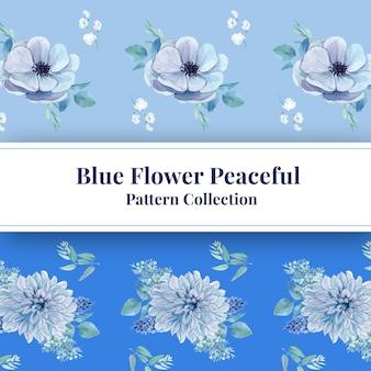 Padrão sem emenda com conceito pacífico de flor azul, estilo aquarela