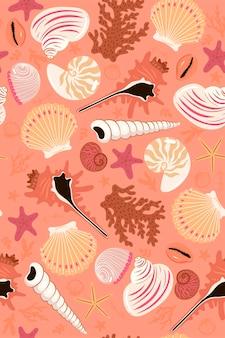 Padrão sem emenda com conchas e estrelas do mar.
