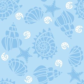 Padrão sem emenda com conchas no azul