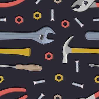Padrão sem emenda com construção, instrumentos de reparo doméstico. ilustração vetorial.