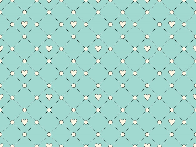 Padrão sem emenda com coração branco e ponto sobre um fundo turquesa para dia dos namorados.