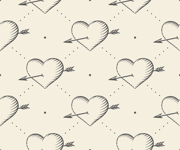 Padrão sem emenda com coração e flecha em estilo vintage, gravura para dia dos namorados.