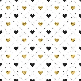 Padrão sem emenda com coração preto e dourado