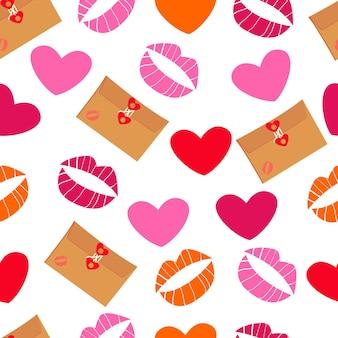 Padrão sem emenda com corações, cartas de amor e padrão de beijos para embrulhar presentes para o dia dos namorados