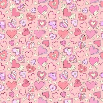 Padrão sem emenda com corações coloridos