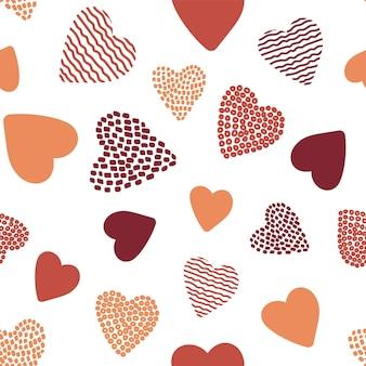 Padrão sem emenda com corações desenhados à mão. molde do vetor para o projeto do dia dos namorados.