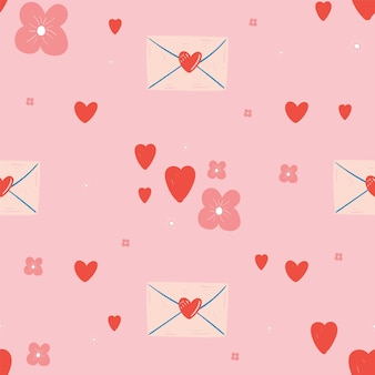 Padrão sem emenda com corações e letras. dia dos namorados.