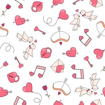 Padrão sem emenda com corações e objetos em forma de coração em fundo branco