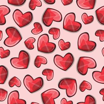 Padrão sem emenda com corações estilizados - vetor