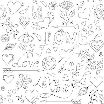 Padrão sem emenda com corações, flores e outros elementos