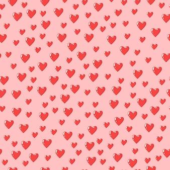 Padrão sem emenda com corações ilustração em vetor dia dos namorados
