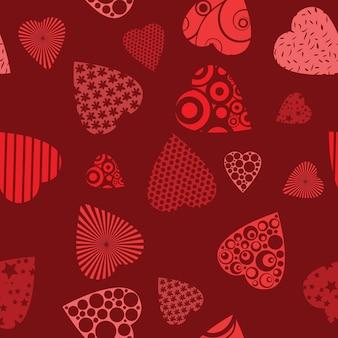 Padrão sem emenda com corações - ilustração vetorial para design