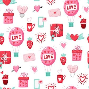 Padrão sem emenda com corações no dia dos namorados