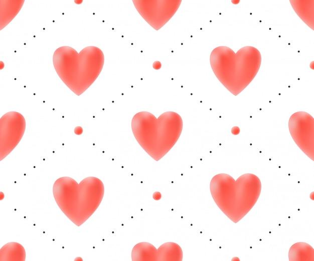 Padrão sem emenda com corações vermelhos em um fundo branco para dia dos namorados. ilustração vetorial