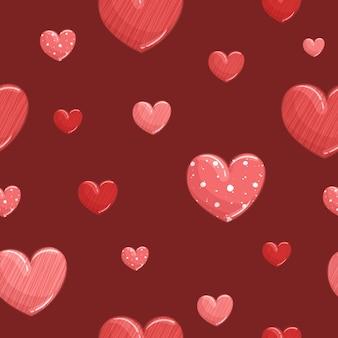 Padrão sem emenda com corações vermelhos listrados e corações de bolinhas vermelhas em um vermelho escuro.