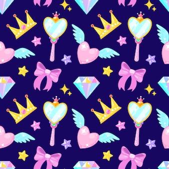 Padrão sem emenda com coroa de coração diamante arco mirrow e estrelas