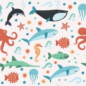 Padrão sem emenda com criaturas do mar colorido