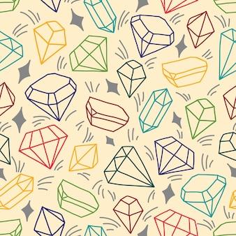 Padrão sem emenda com cristais brilhantes. ilustração colorida