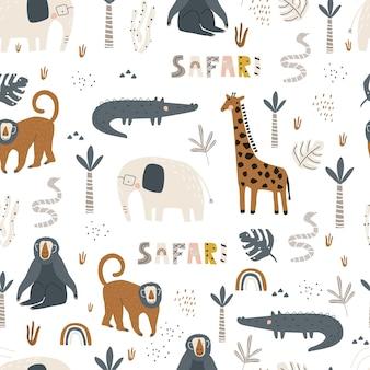Padrão sem emenda com crocodilo girafa elefante e macaco em um fundo branco.