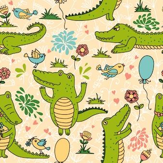 Padrão sem emenda com crocodilos engraçados