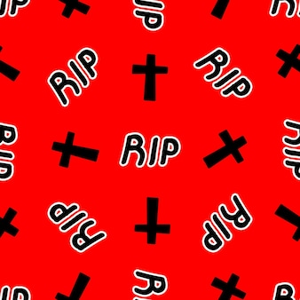 Padrão sem emenda com cruzes e inscrição de rasgo em uma ilustração vetorial de fundo vermelho