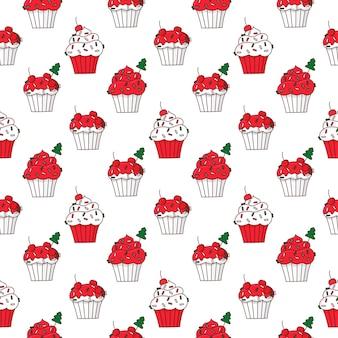 Padrão sem emenda com cupcakes de feliz natal