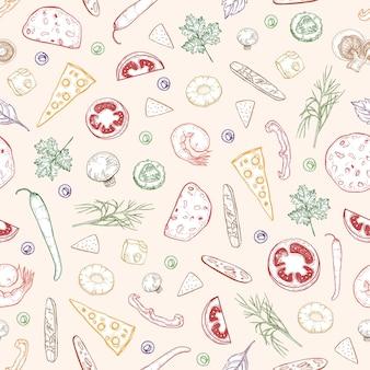 Padrão sem emenda com deliciosas coberturas de pizza ou ingredientes desenhados à mão com contornos coloridos sobre fundo claro