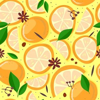 Padrão sem emenda com desenho à mão de laranjas