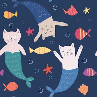 Padrão sem emenda com desenho animado gato sereia e criaturas marinhas. ilustração bonita à mão desenhada para crianças