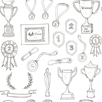 Padrão sem emenda com desenho decorativo prêmio com troféu, medalha, prêmio do vencedor, copo de campeão, fita.