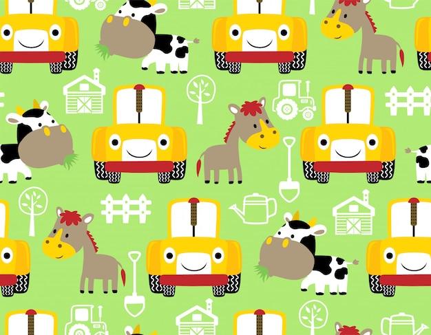 Padrão sem emenda com desenhos animados de animais de fazenda e trator