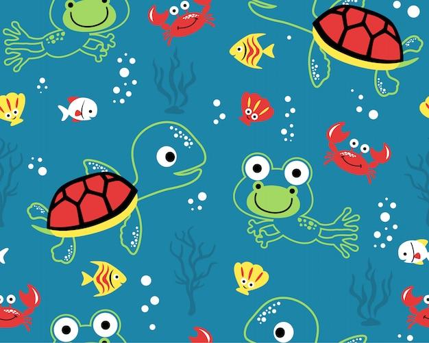 Padrão sem emenda com desenhos animados de animais marinhos