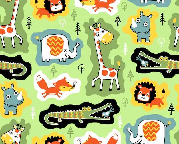 Padrão sem emenda com desenhos animados de animais selvagens