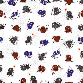 Padrão sem emenda com desenhos animados de aranha