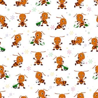 Padrão sem emenda com desenhos animados de formiga