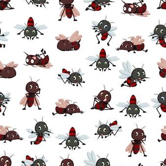 Padrão sem emenda com desenhos animados de mosquito