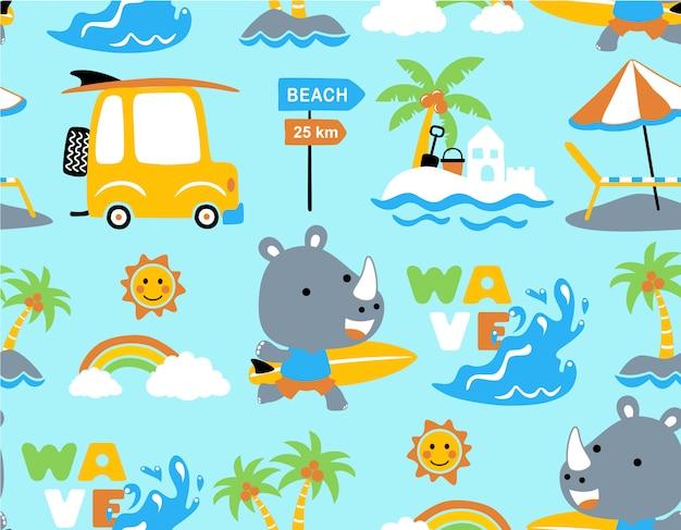Padrão sem emenda com desenhos animados de rinoceronte na praia