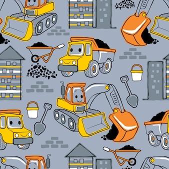 Padrão sem emenda com desenhos animados de veículos de construção