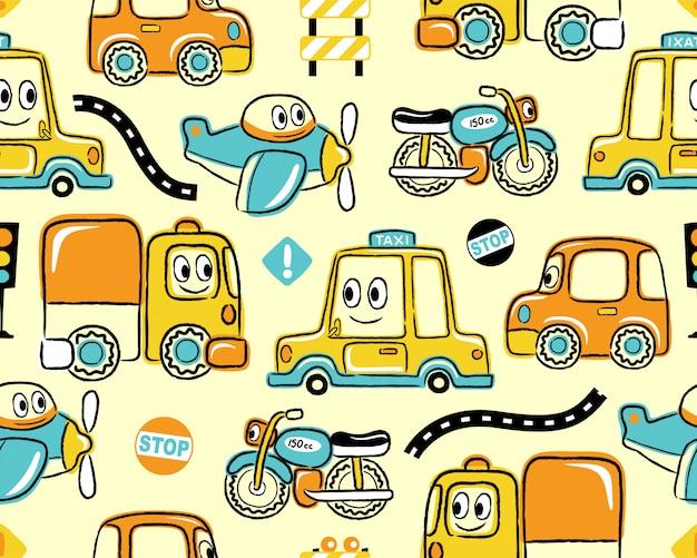 Padrão sem emenda com desenhos animados de veículos engraçados