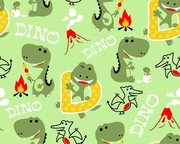 Padrão sem emenda com desenhos animados de vetor de dinossauros