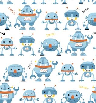 Padrão sem emenda com desenhos animados do robô engraçado