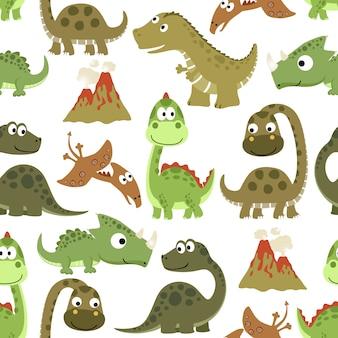 Padrão sem emenda com desenhos animados engraçados dos dinossauros