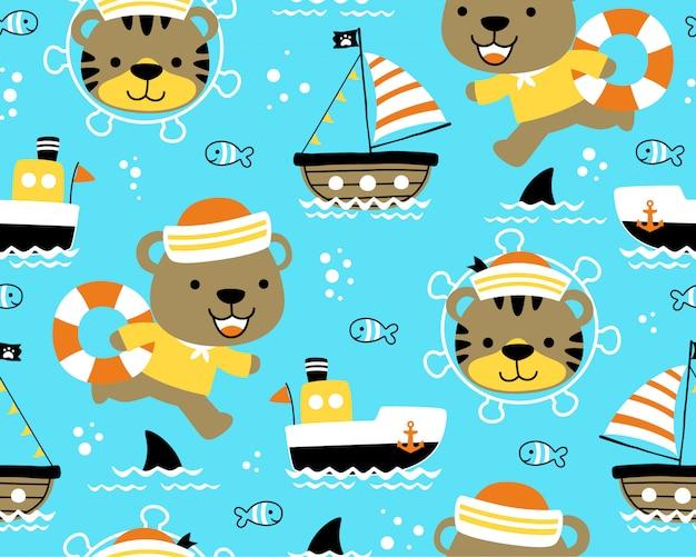 Padrão sem emenda com desenhos animados engraçados marinheiro