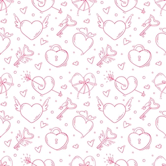 Padrão sem emenda com dia dos namorados e amo objetos monocromáticos em estilo doodle.