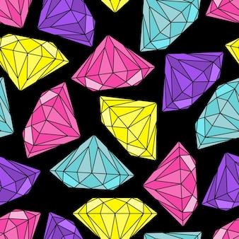 Padrão sem emenda com diamantes multicoloridos um fundo escuro. ilustração vetorial.