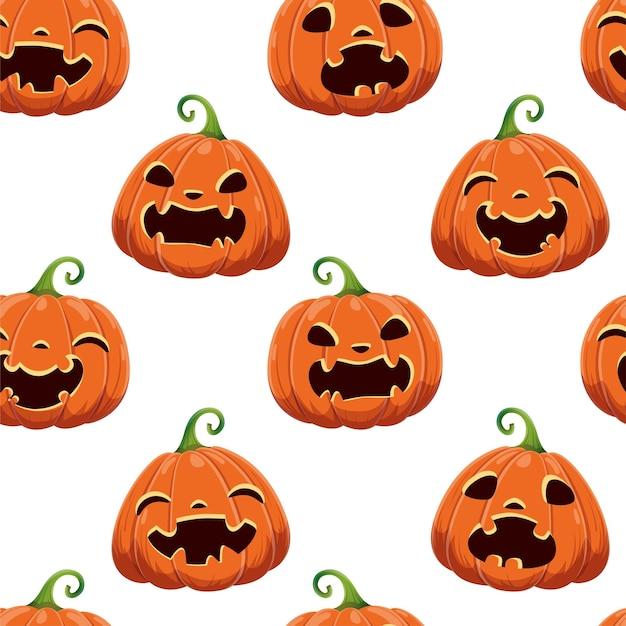 Padrão sem emenda com diferentes abóboras de halloween em fundo branco. ilustração vetorial. para scrapbooking, presentes, tecidos, têxteis, plano de fundo. cabeça de jack.