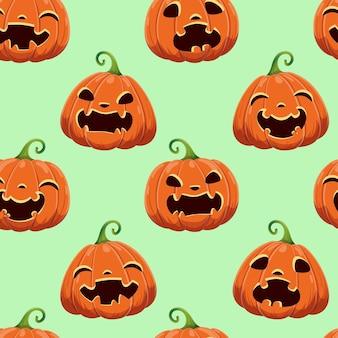 Padrão sem emenda com diferentes abóboras de halloween. ilustração vetorial. para scrapbooking, presentes, tecidos, têxteis, plano de fundo.