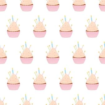Padrão sem emenda com diferentes cupcakes em um fundo branco.