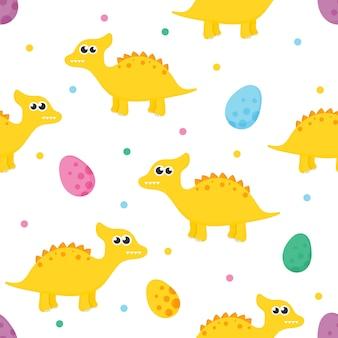 Padrão sem emenda com dinossauro bonito dos desenhos animados e ovos para crianças. animal no fundo branco.
