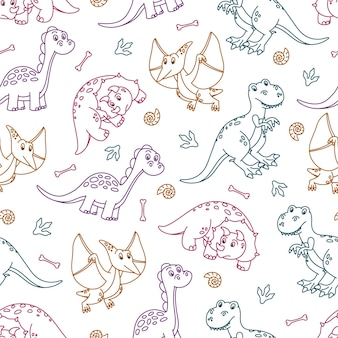 Padrão sem emenda com dinossauros de contorno colorido fofos